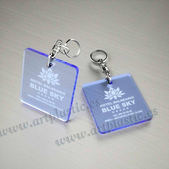 llaveros plastico personalizados originales azules baratos cuadrados 50x50