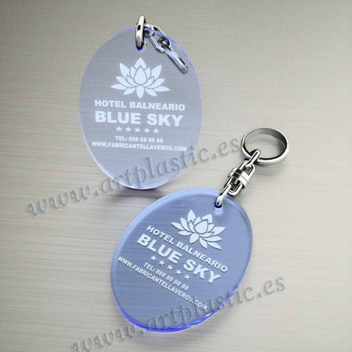 llaveros plastico personalizados originales azules baratos ovalados 70x50