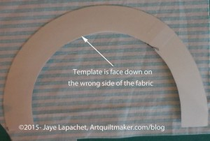 Place template face down on fabric
