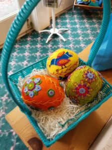Wool felt eggs at Pioneer Quilts - patterns available