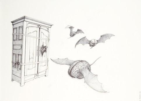 Le projet Télémachus, dessin préparatoire, 2012, stylo bille sur papier, 50x65cm