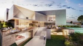 Villa Abu Dhabi, en construction. Cette demeure lumineuse et confortable montre une composition volumétrique complexe et élégante, avec des façades fermées pour se protéger du soleil, d'autres pourvues de grandes ouvertures sur le jardin.