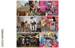 John Paul Fauves s'inspire des visuels des campagnes Gucci (à gauche) pour réaliser ses oeuvres. « Des journées et des nuits explosives à Rome » Campagne Gucci Printemps/Eté 2017 réalisée par Glen Luchford. « Soul scene » Campagne Gucci Pre-fall 2017.