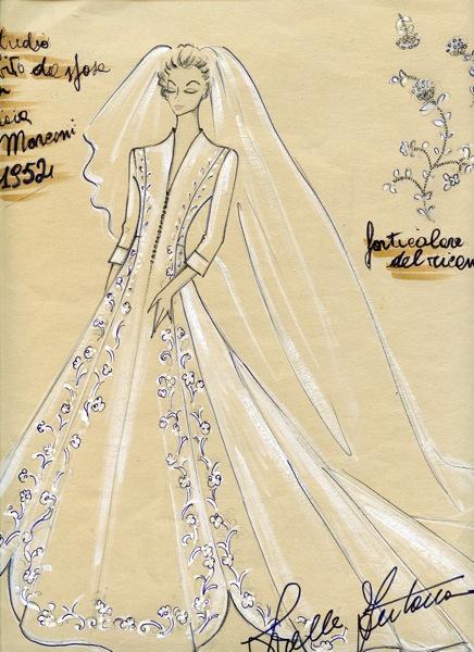 1952 - Bozzetto per l'abito da sposa Donna Gioia Marconi Braga - courtesy Fondazione Micol Fontana, Roma