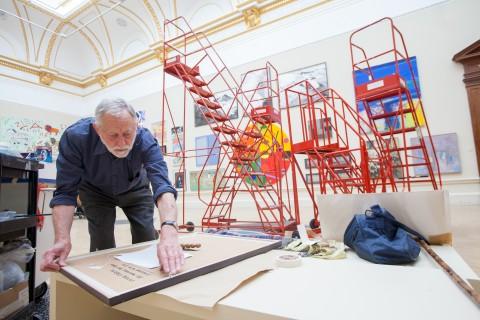 Installing the Summer exhibition 2013 (c) Benedict Johnson
