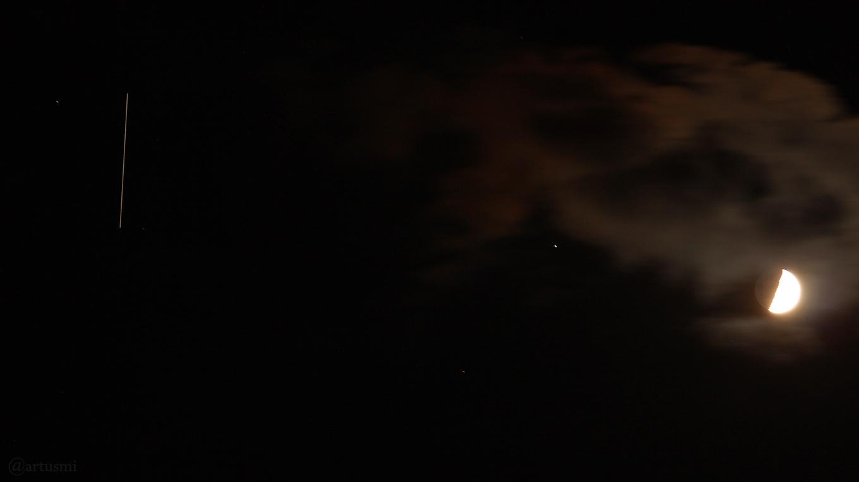 Die ISS, Regulus und Mond am 21. Mai 2018