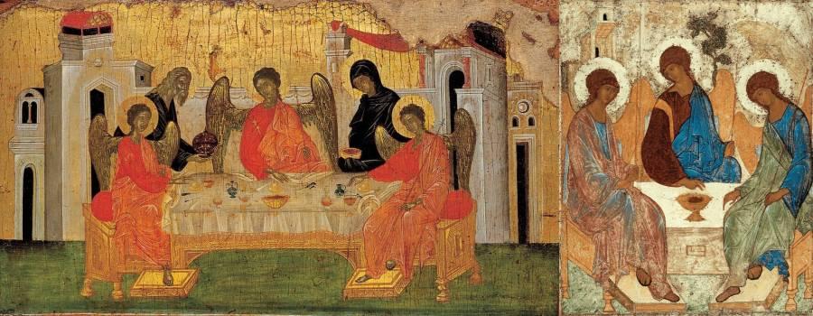 Троица (Гостеприимство Авраама). Конец XIV века. В сравнении с Троицей Рублева