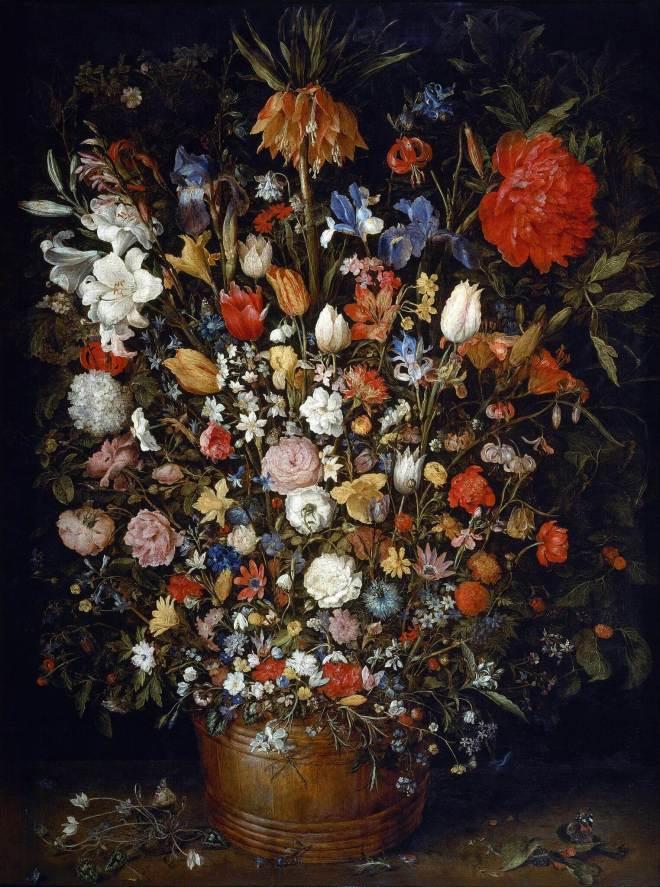 Ян Брейгель Старший. Цветы в деревянном сосуде.