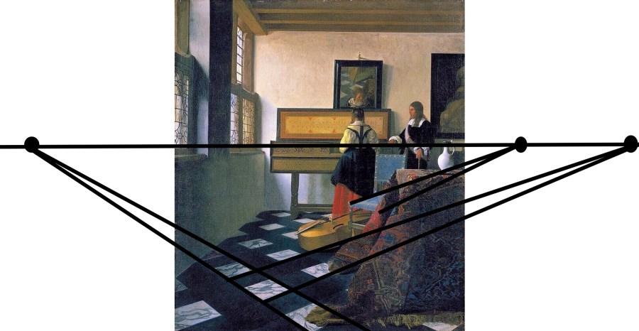 Угловая перспектива на картине Яна Вермеера