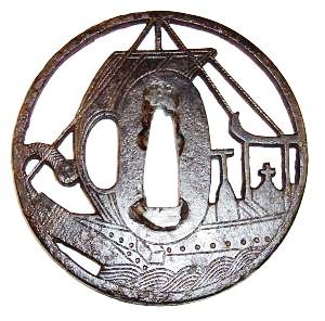 Myochin iron tsuba Black Ship motif