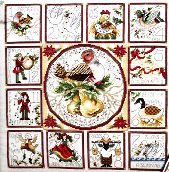 The 12 Days Of Christmas With Ornaments Cross Stitch