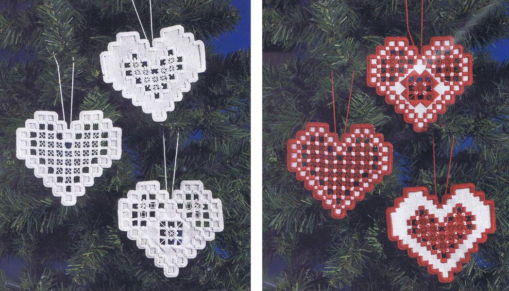 Christmas Hardanger Hearts White Hardanger Kit By