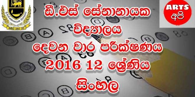 D.S Senanayake College Second Term Test Sinhala 2016 Grade 12