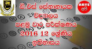 D.S Senanayake College First Term Test History 2016 Grade 12