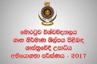 University of Moratuwa Bachelor of Architecture Aptitude Test 2017