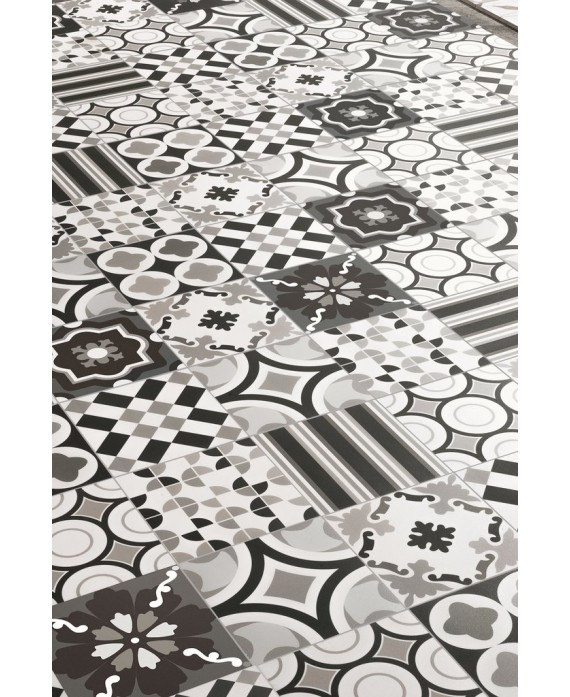 carrelage patchwork noir imitation carreau ciment contemporain 20x20x1cm rectifie r10