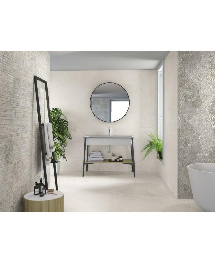 carrelage imitation pierre blanche anti derapant xxl 100x100cm rectifie r11 a b c porce1916 ba