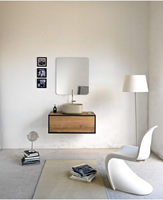 miroir avec porte serviette tablette applique integree noirs l 45cm h 90cm