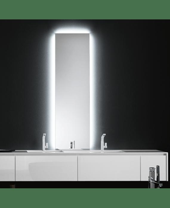 Miroir Salle De Bain Lumineux Moderne Rectangulaire Vertical Avec Led Derriere Comp Digit