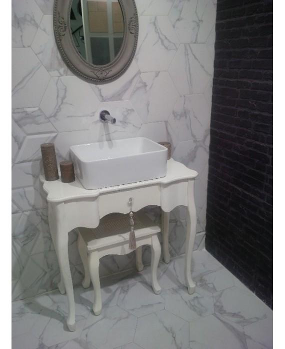 carrelage hexagone tomette imitation marbre satine 28 5x33cm realzairebasemix