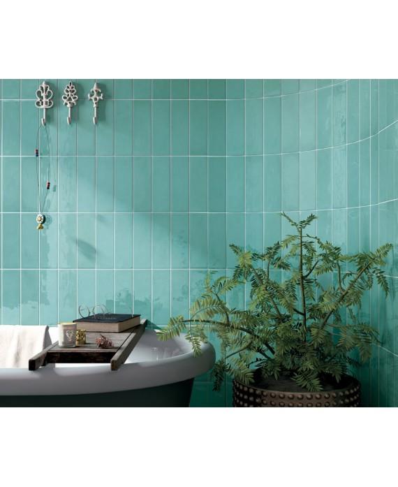 Carrelage Imitation Zellige Vert Turquoise Brillant Eqvillage Teal