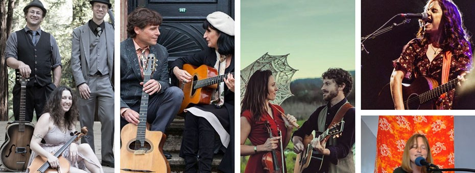 MUSIC   Featuring live music by Shelby Ann, Sandy Lindop, Duo Gadjo, Late for the Train, Dirty Cello. We