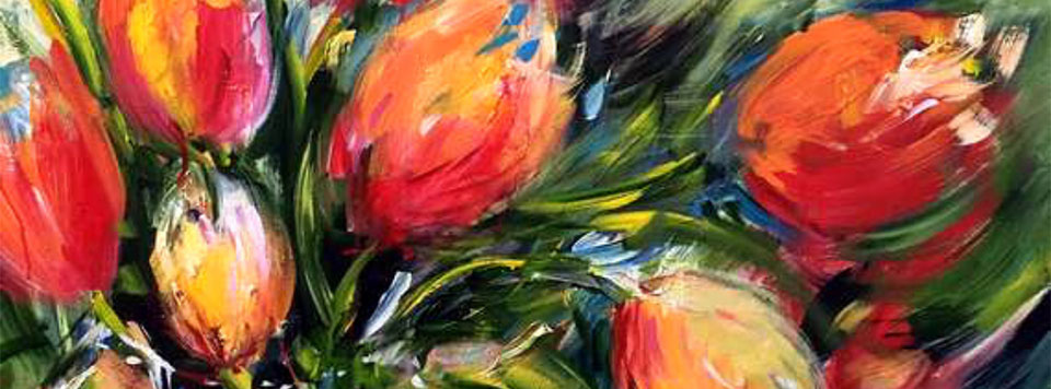 Wild Tulips in a Glass Vase (Fair Use)