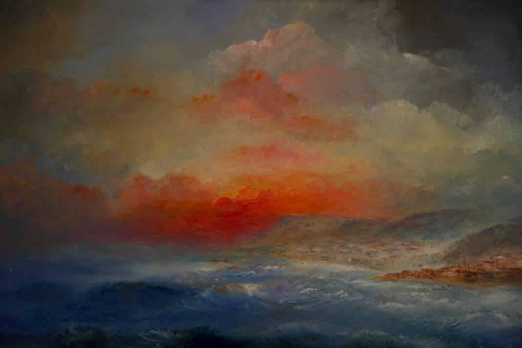 Christian Bruley - Menton coucher de soleil 40X27