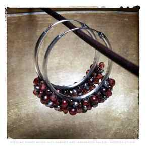 Sterling hoops with woven pearls and garnets