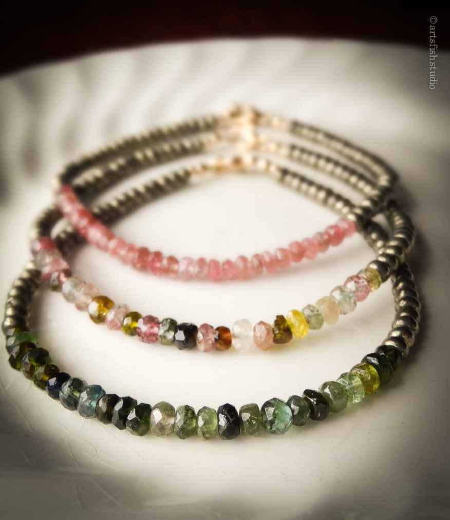 Watermelon tourmaline, pyrite and gold filled stacking bracelets