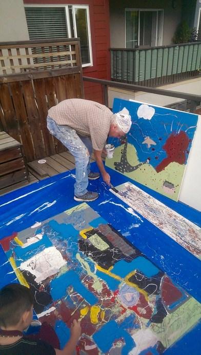 Artist working on a piece