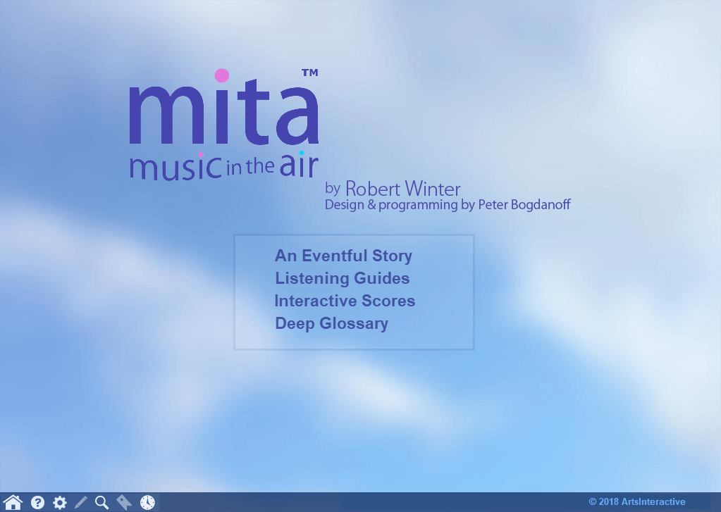 MITA home page, with selections for An Eventful Story, Listening Guides, Interactive Scores, and Deep Glossary