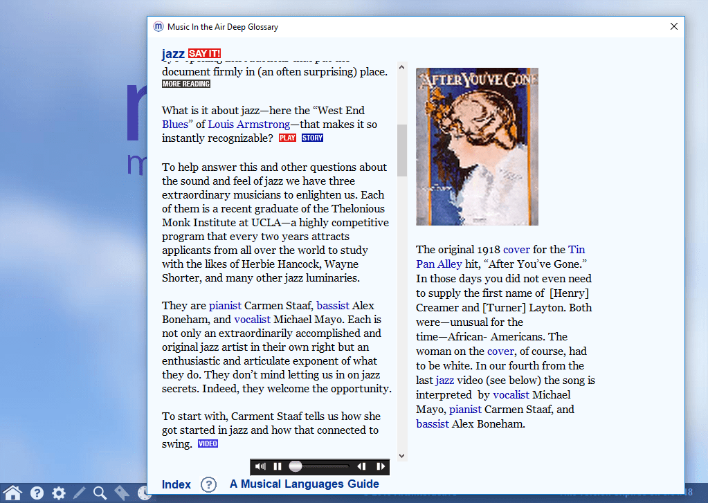 "Screenshot of a Deep Glossary entry on jazz, with play buttons and an image for the cover of ""After You've Gone."""