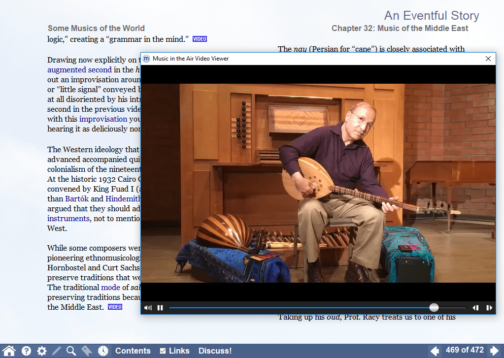 Screenshot of a video in which Prof. A.J. Racy introduces some Middle Eastern instruments