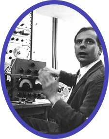 Karlheinz Stockhausen at work during the era of cathode-ray tubes and elaborate built-in cooling systems. Installing MITA is much simpler!