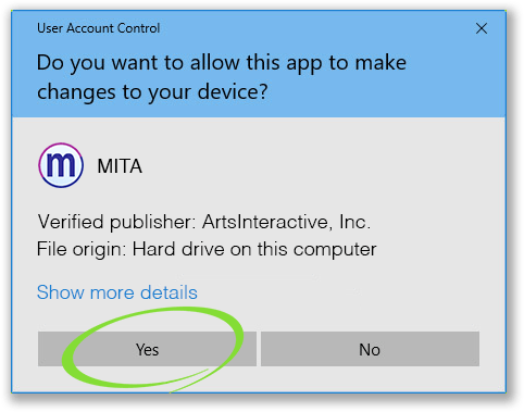 "Window with ""Do you want to allow this app to make changes to your device?"" message and ""Yes"" circled"