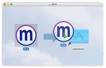Screenshot of cursor dragging the MITA icon into the Applications folder