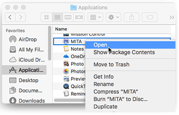 "Screenshot of cursor hovering over ""Open"" option after having right-clicked MITA from the Applications folder"