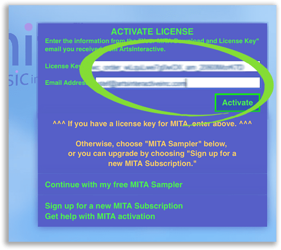 """Screenshot of MITA's """"Activate License"""" screen, with the spaces for entering one's license key and email address, as well as the """"Activate"""" button, circled"""