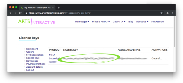 Screenshot showing the license keys page from My Account, with the license key circled and blurred out