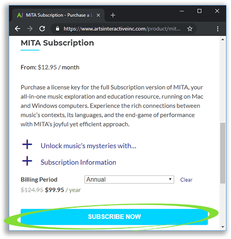 Subscription webpage, where you can choose between subscriptions of varying lengths.