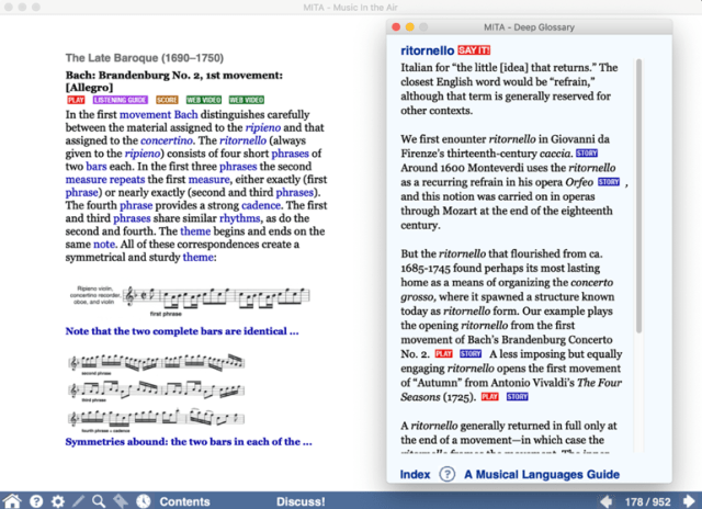 "Screenshot showing MITA's ""Eventful Story"" and ""Deep Glossary"" sections"