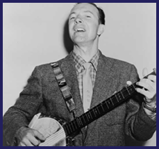 A black-and-white photo of Pete Seeger singing and playing the banjo