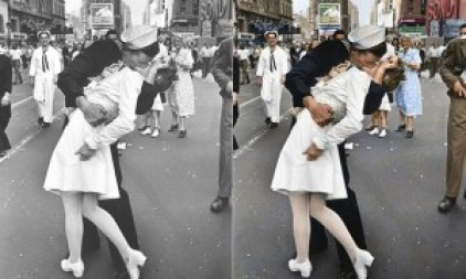 VIctory over Japan Day, Times Square New York, 14 August 1945, original and colorized
