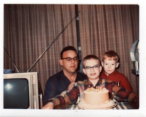 DAD, TERRY, AND DAVE WITH THE ORANGE CAKE