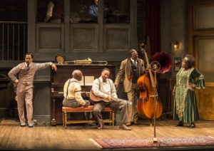 "L-R: Jason Dirden, Glynn Turman, Damon Gupton, Keith David and Lillias White in August Wilson's ""Ma Rainey's Black Bottom,"" directed by Phylicia Rashad, playing through October 16, 2016, at Center Theatre Group/Mark Taper Forum at the Los Angeles Music Center. For tickets and information, please visit CenterTheatreGroup.org or call (213) 628-2772. Contact: CTGMedia@ctgla.org/ (213) 972-7376. Photo by Craig Schwartz."