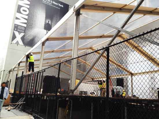 """""""Rain Room"""" being constructed yesterday in lot where Nouvel's tower will later rise Photo by Lee Rosenbaum"""