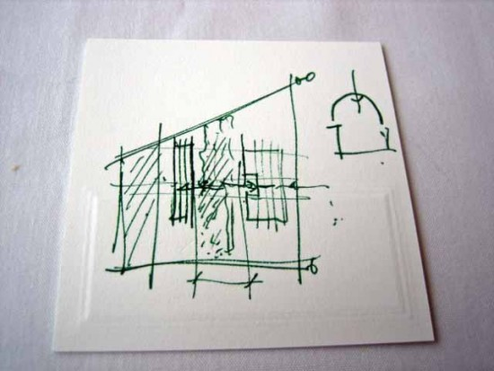 Renzo Piano's back-of-a-placecard drawing of his plan for the Kimbell, given to me at press preview of his Modern Wing in Chicago Photo by Lee Rosenbaum