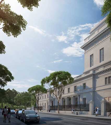Rendering of the Frick with expansion by Davis Brody Bond on right (seen from 70th Street, looking west Courtesy of Neoscape Inc., 2014