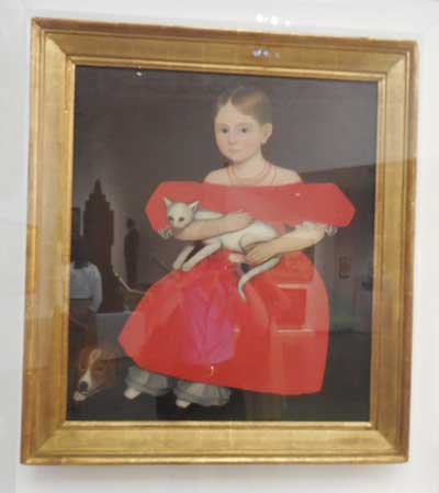 "Ammi Phillips, ""Gird in Red Dress with Cat and Dog,"" 1830-35 Photo by Lee Rosenbaum"